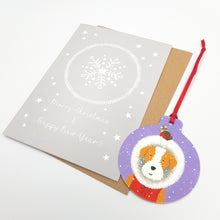 Load image into Gallery viewer, Dog Christmas Card With Decoration - Handmade