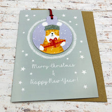 Load image into Gallery viewer, Cat Christmas Card With Decoration - Handmade