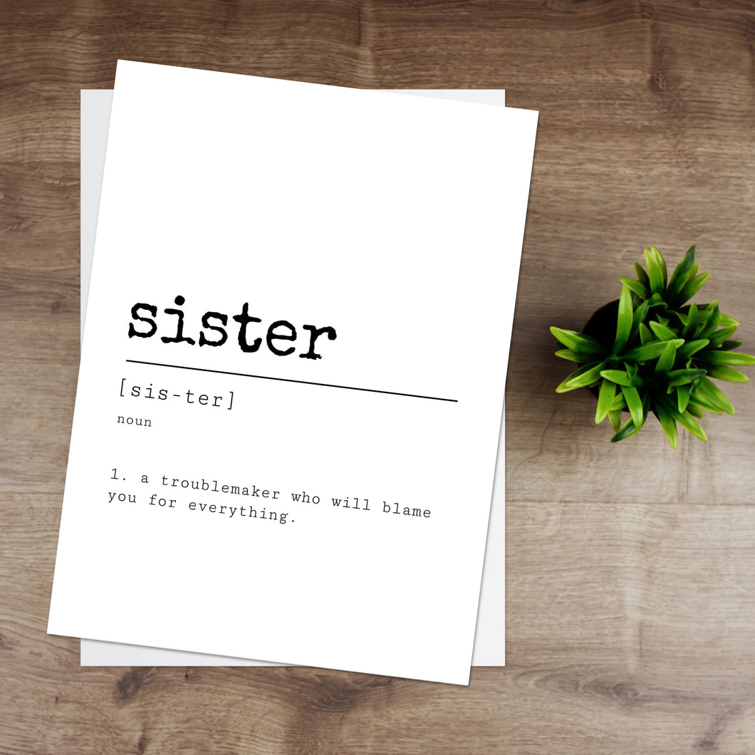 Sister Definition Print