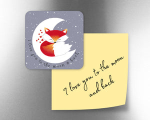 I Love You To The Moon And Back Fox Fridge Magnet