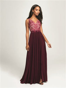 V-Neck with Embroidered Bodice and Chiffon Skirt