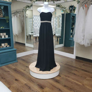 Strapless black long with pearl belt