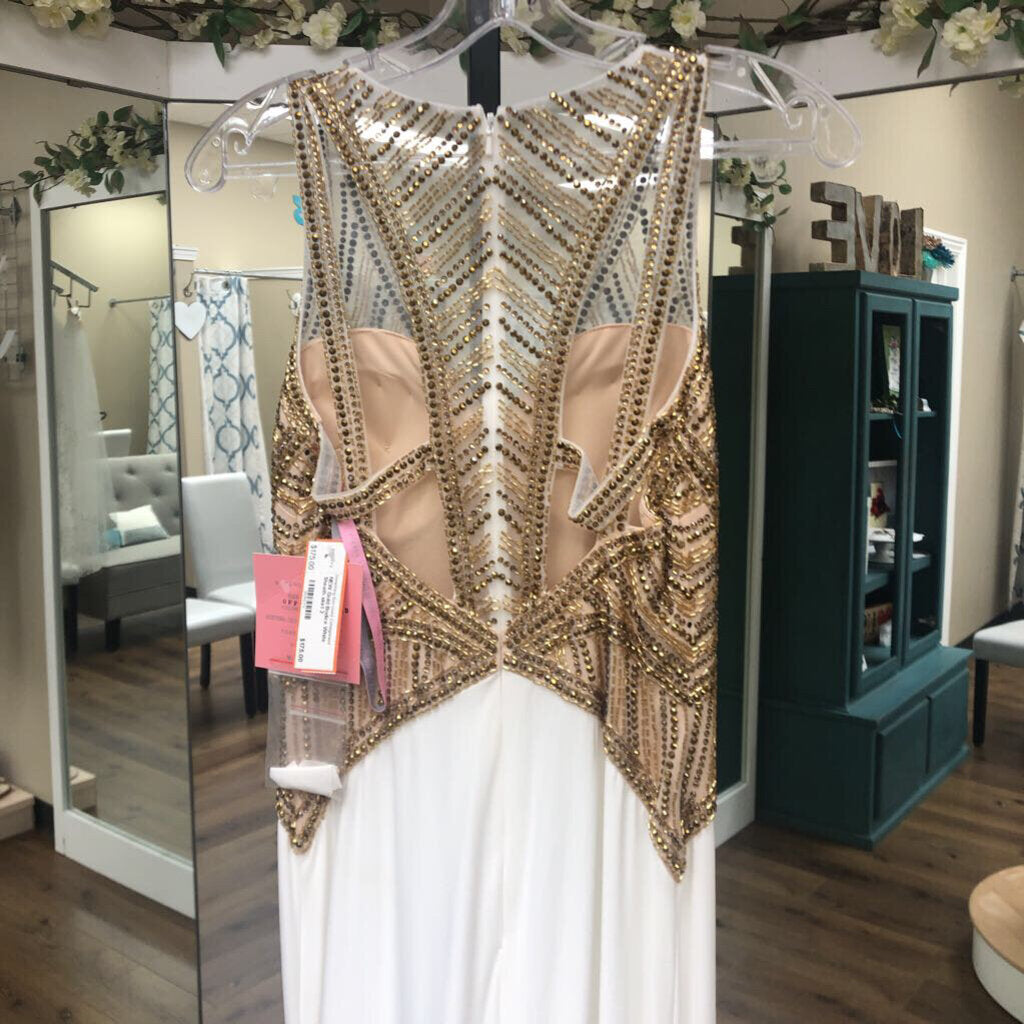 NEW Gold Bodice White Sheath skirt