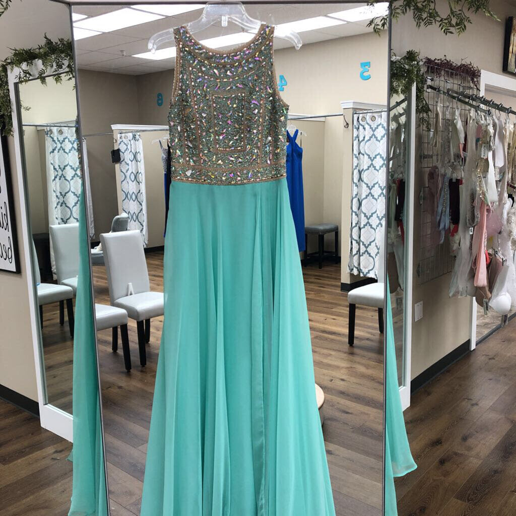Sea Green Rhinestone High Neck Long