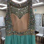 Load image into Gallery viewer, Sea Green Rhinestone High Neck Long