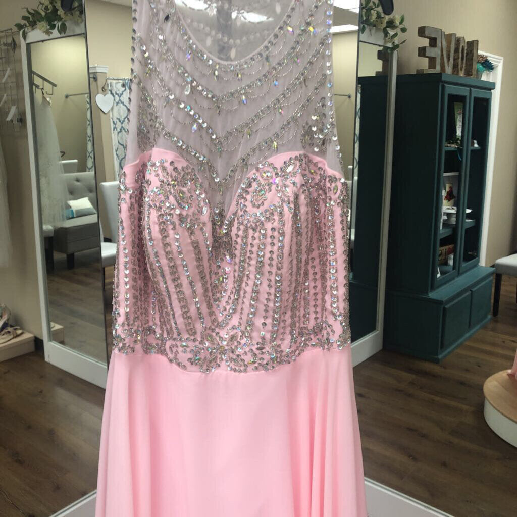 long pink illusion top w/ rhinestones