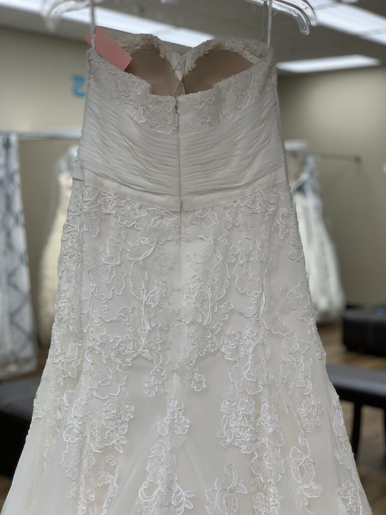Strapless Ivory Lace Ruched Waist