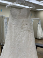 Load image into Gallery viewer, Strapless Ivory Lace Ruched Waist