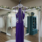Load image into Gallery viewer, Dark purple high neck with chandelier back
