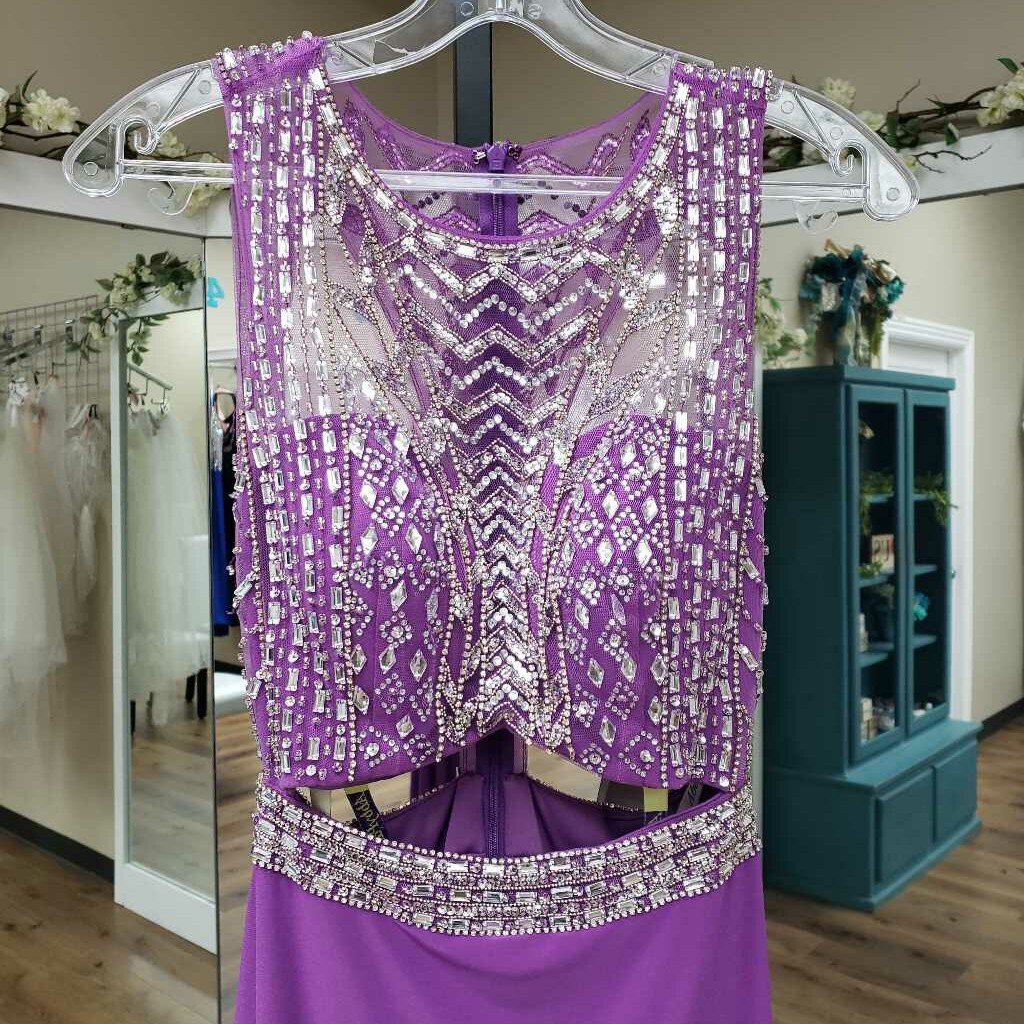 light purple cut out high neck beaded top