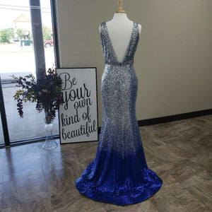 Silver/Blue Sequin Long