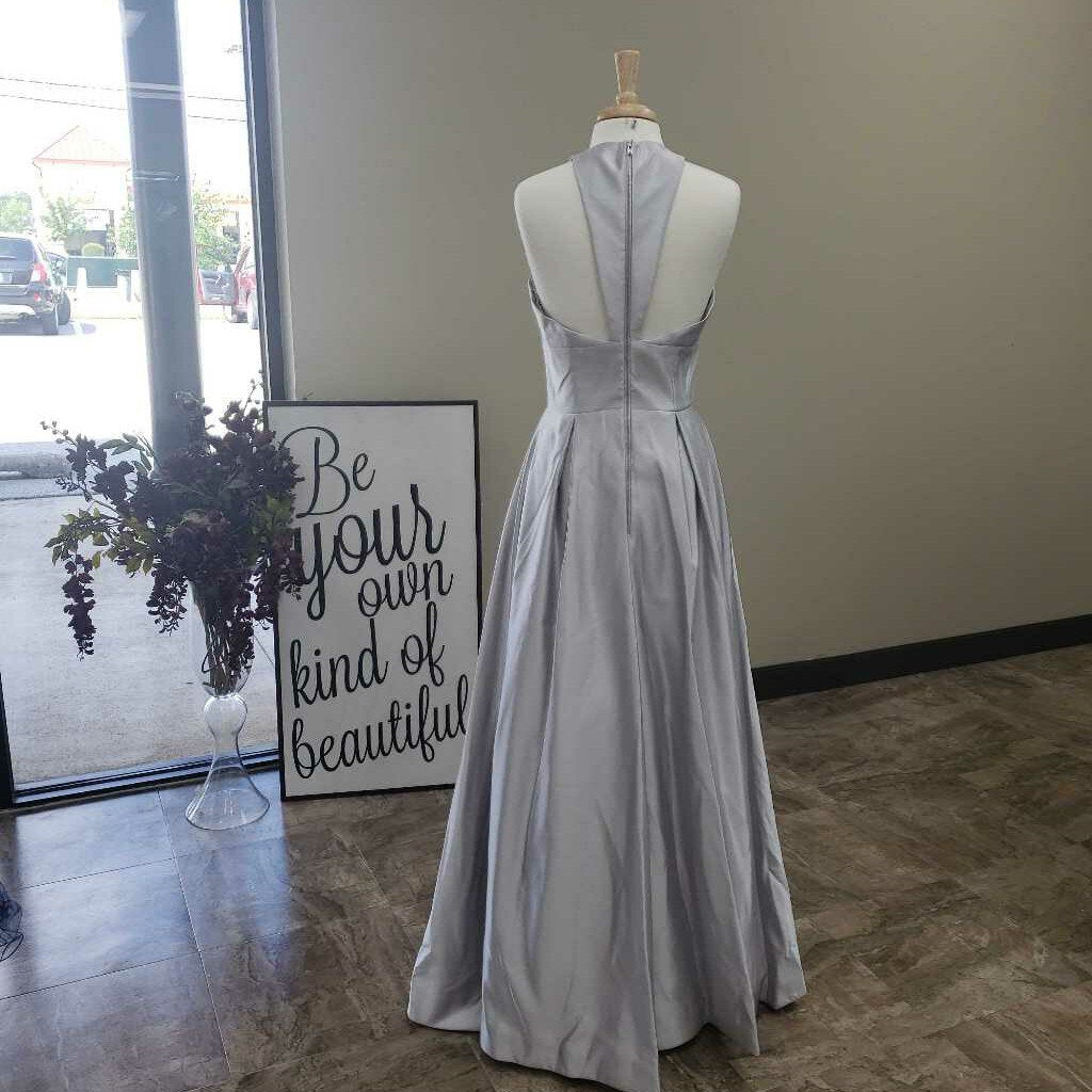 Long Silver Ballgown Pockets Zippered Back