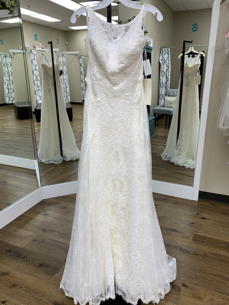 Lace Trumpet Gown with High Neck and Delicate Beading