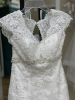 Load image into Gallery viewer, A-line with Cap Sleeves and Lace Overlay
