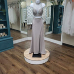 Load image into Gallery viewer, Silver two piece satin illusion beaded neckline