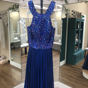 Blue Long High Neck Beaded Bodice