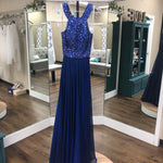 Load image into Gallery viewer, Blue Long High Neck Beaded Bodice
