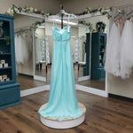 Load image into Gallery viewer, Aqua Strapless Beaded Neckline