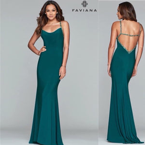Green w/ open back and beaded straps