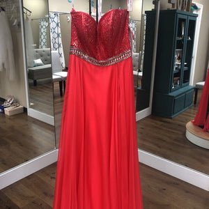 Coral strapless chiffon w/ beaded top