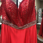 Load image into Gallery viewer, Coral strapless chiffon w/ beaded top