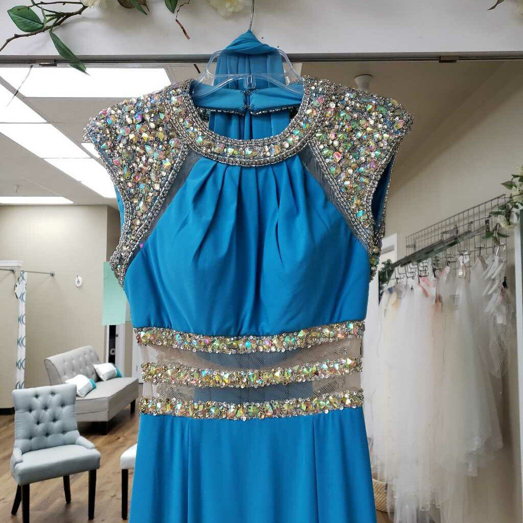 Light Blue Sheer Waist Beaded Shoulder