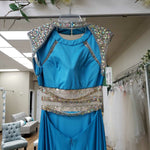 Load image into Gallery viewer, Light Blue Sheer Waist Beaded Shoulder