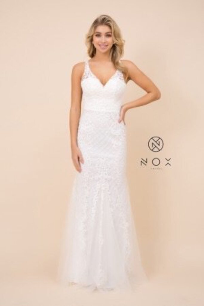 White Embroidered Sleeveless Mermaid