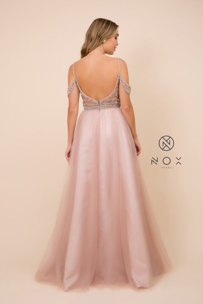 Blush Cold Shoulder Glitter Tulle