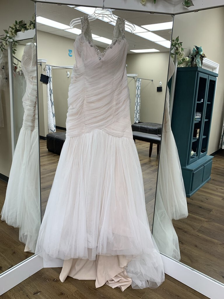 Blush Beaded Straps Ruched Bodice