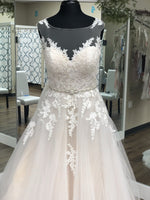 Load image into Gallery viewer, Champagne Ballgown w/ Lace Bodice and Tulle Skirt
