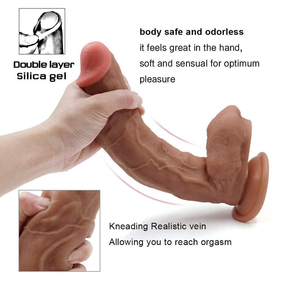 Lnabni 12 inch Liquid Silicone Dildo - Lifelike Huge Dong - Strong Suction Cup - Realistic and Extremely Soft Adult Toy - 100% Waterproof Big Size Adult Sex Toy