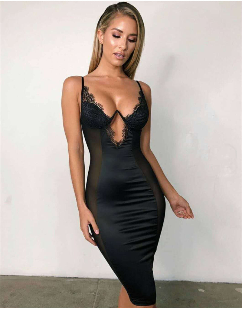 NewAsia Black Mesh Satin Dress Summer Midi Dress Woman Party Night Underwired Cut Out Bodycon Club Dresses Sexy Robe Femme Red