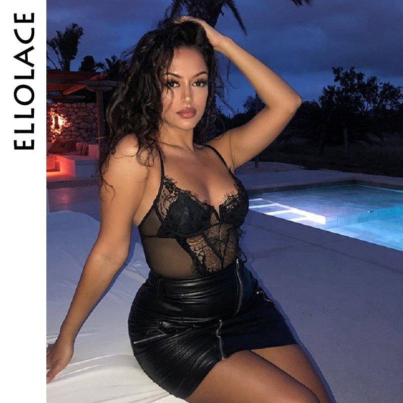 Lace Bodysuit V Neck Mesh Patchwork Transparent Sexy Bodycon Jumpsuit Summer 2019 Body Femme