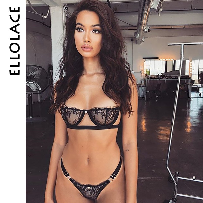 Set Push Up bikini Underwear Suit Low Cup Balck Transparent Lenceria Femenina Strap Women Sexy Bra Set