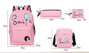 All inclusive Colour Accented Durable Backpack Set (4 pc)-UwU Things