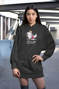 Cat Queen Ultra Soft Hoodie-Apparel-Fuel-Black-S-UwU Things