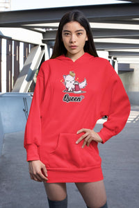 Cat Queen Ultra Soft Hoodie-Apparel-Fuel-Cherry Red-S-UwU Things
