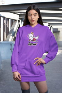Cat Queen Ultra Soft Hoodie-Apparel-Fuel-Purple-S-UwU Things