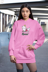 Cat Queen Ultra Soft Hoodie-Apparel-Fuel-Safety Pink-S-UwU Things