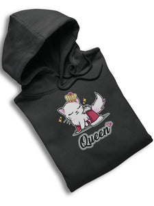 Cat Queen Ultra Soft Hoodie-Apparel-Fuel-White-S-UwU Things