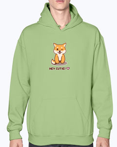 """Hey Cutie!"" Shiba Hoodie-Apparel-Fuel-Kiwi-S-UwU Things"