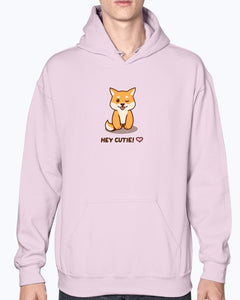 """Hey Cutie!"" Shiba Hoodie-Apparel-Fuel-Light Pink-S-UwU Things"