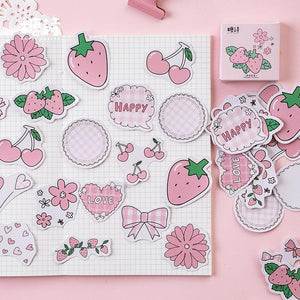 Strawberry Flavored Stickers (45 pc)-UwU Things