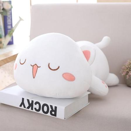 UwU & OwO Lying Cat Plush-UwU Things-65cm (26 inches)-UwU White Cat-UwU Things