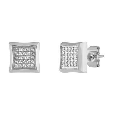 The Men's Corner Diamond Earrings 1/4 ct. t.w. Stainless Steel with Friction Back