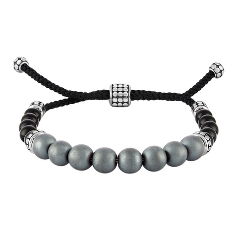 The Men's Corner Matte Hematite (8mm) and Black Onyx (6mm) Bolo Bracelet in Sterling Silver