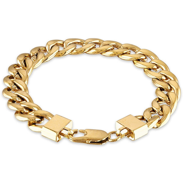 "The Men's Corner  Cuban Link (11-3/4mm) 8 1/2"" Chain Bracelet in SS & 14kt Gold"