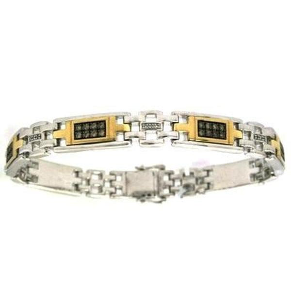The Men's Corner 1 ct. t.w. Brown & White Diamond Bracelet in Sterling Silver and 10kt Yellow Gold