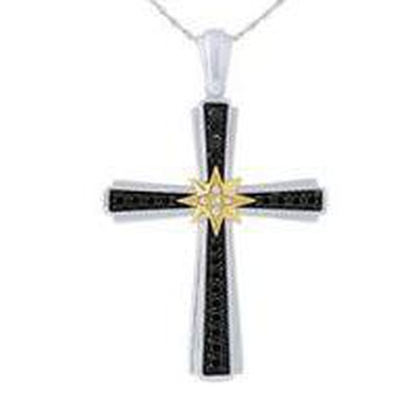 "The Men's Corner 1/2 ct. t.w. Black and White Diamond Pendant in Sterling Silver & 10kt Yellow Gold.  Includes 22"" Sterling Silver Box Chain."